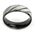 Strip Frosted Surface Finger Ring for Men -Black + Silver (US 11)