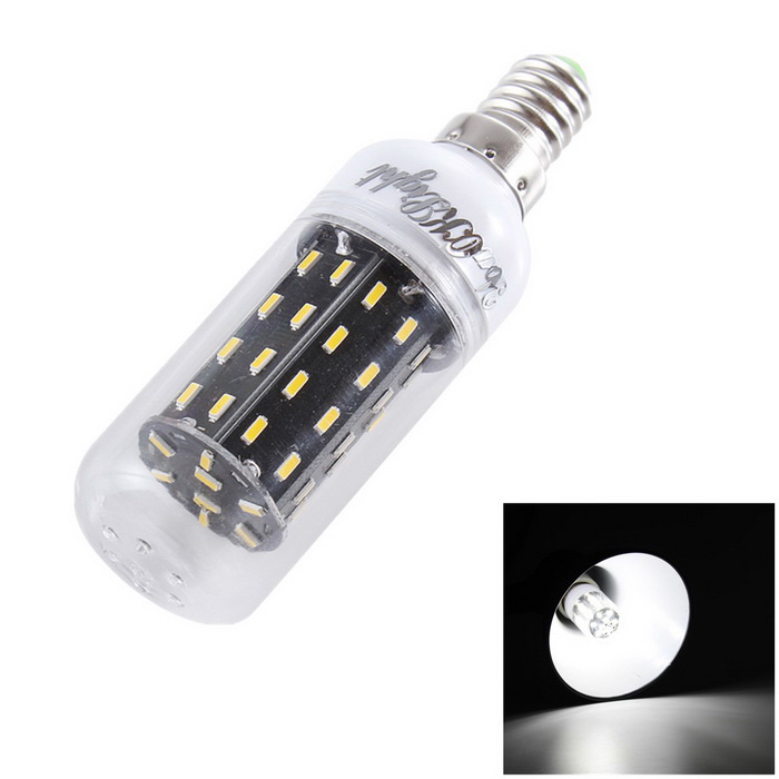 YouOKLight E14 7W LED Corn Lamp Bulb Cold White Light 6000K 56-SMDE14<br>Form  ColorWhite+ transparent+ blackColor BINWhiteModelYK1183MaterialAL + PCQuantity1 DX.PCM.Model.AttributeModel.UnitPower7WRated VoltageAC 220-240 DX.PCM.Model.AttributeModel.UnitConnector TypeE14Emitter TypeOthers,4014Total Emitters56Theoretical Lumens700 DX.PCM.Model.AttributeModel.UnitActual Lumens600 DX.PCM.Model.AttributeModel.UnitColor Temperature6000KDimmableNoBeam Angle360 DX.PCM.Model.AttributeModel.UnitCertificationRoHS&amp;CEPacking List1 x LED Corn Bulb<br>