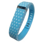 Replacement Large-Size Dots Pattern Sports Wrist Band w/ Clasp for Fitbit Flex - White + Light Blue