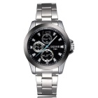 SKONE Men's Fashionable Alloy Band Analog Quartz Wrist Watch - Silver + Black (1 x S377)