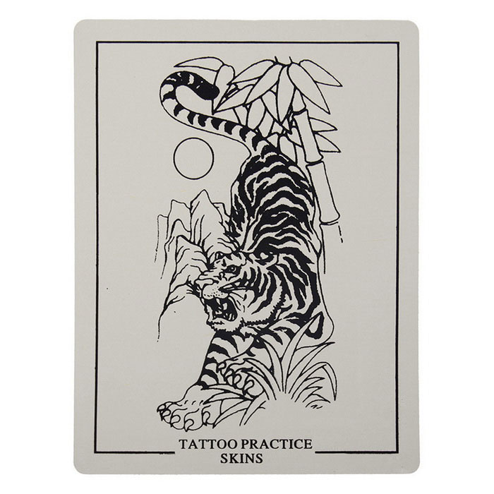P003 Tiger Picture Tattoo Simulation Practice Skin - Beige + Black