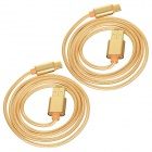 USB 2.0 to USB 3.1 Type C Braided Data Sync & Charging Cable - Golden (1m / 2pcs)