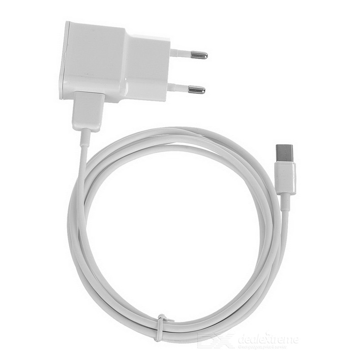 2A USB EU Plug Charger + 2m USB 2.0 to USB 3.1 Charging Cable - White