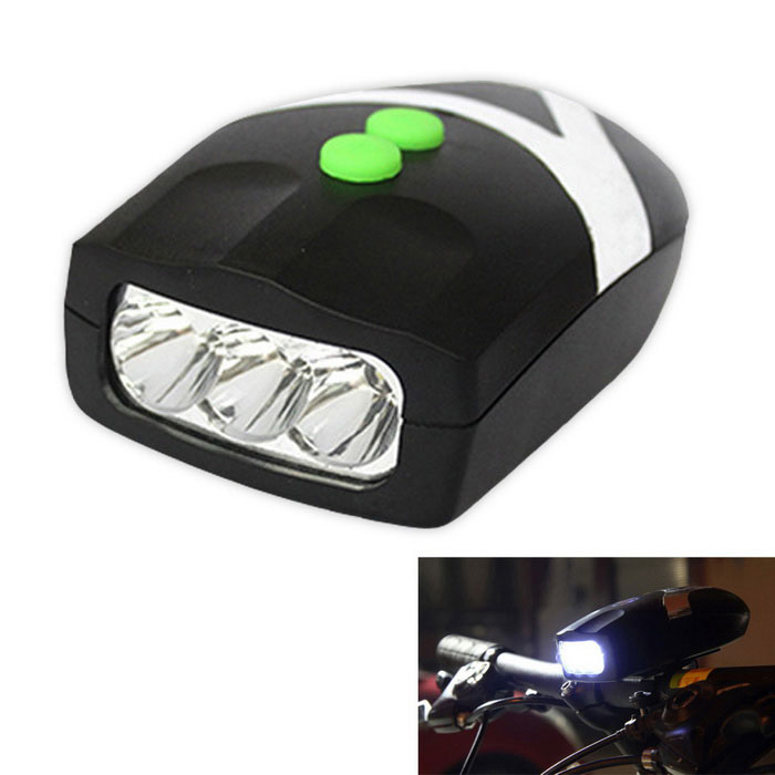 3-Mode 3-LED Bicycle Neutral White + Electronic Bell - Black