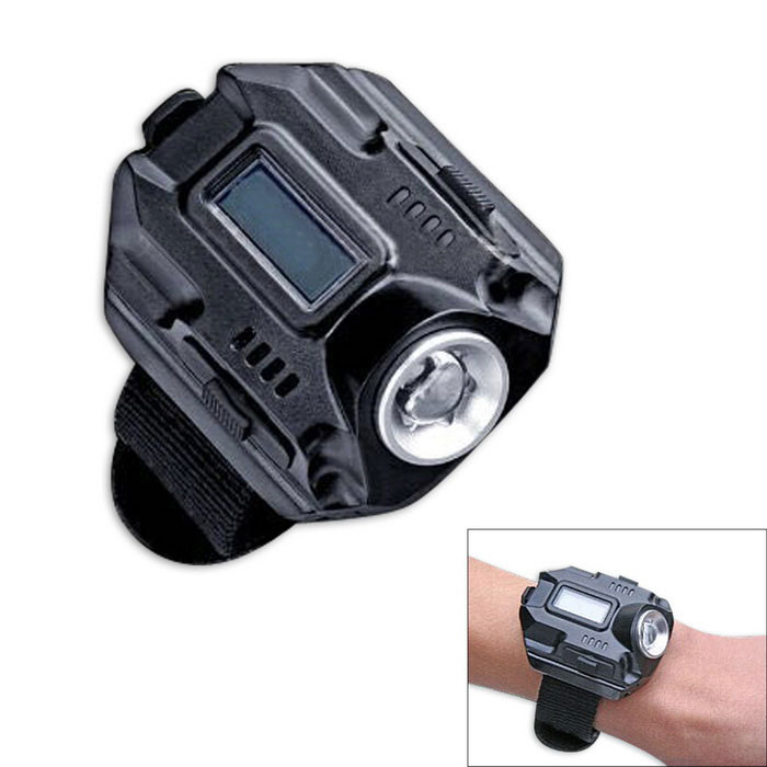 4-Mode Electronic Strap Watch Bicycle Light Neutral White - Black