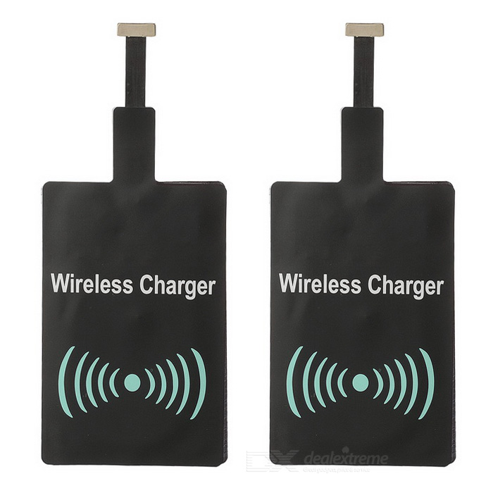 Qi Wireless Charger Receiver for Samsung / HTC / Xiaomi - Black (2PCS)