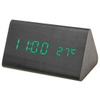 Green Light Triangle Dual-Screen Wooden LED Desk Clock w/ Alarm Clock, Temperature - Black