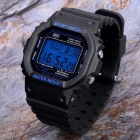 SANDA Men's 30m Waterproof PU Band Sport Watch w/ Dial - Black + Blue