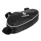 Bike Bicyle Portable Triangular Bag w/ Reflective Stripe - Black
