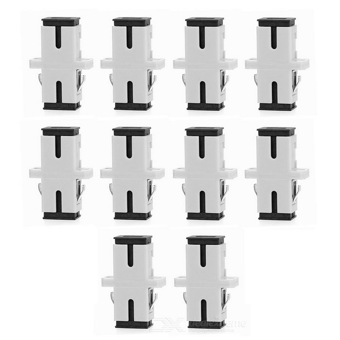 SC to SC Fiber Optic Adapter Connector - Grey White (10PCS)