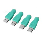 USB 2.0 Male to PS2 Female Adapter Connector for PC Computer - Cyan (4pcs)
