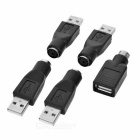 Buy USB 2.0 Male PS2 Female Adapter Connector PC Computer - Black (5pcs)
