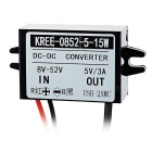 15W DC 12/24/36/48V to DC 5V Power Converter w/ USB, Micro USB - Black