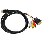 HDMI to VGA + 3-RCA Component AV Cable for Desktop, laptop, TV - Black