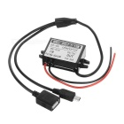 15W DC 12/24/36/48V to DC 5V 3A Voltage Step Down Power Converter w/ USB & Mini USB 5Pin - Black
