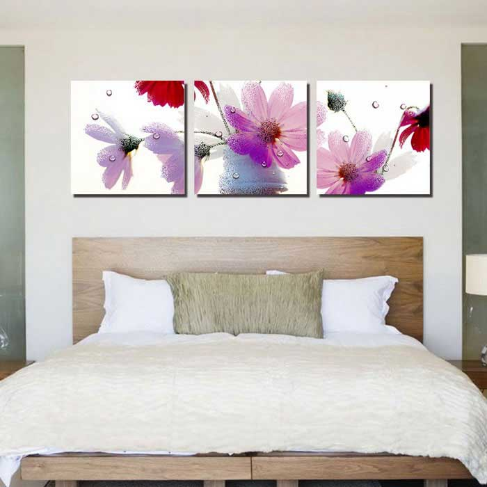 Home Living Room Decoration 3-Panel Frame-Free Flowers Paintings ...