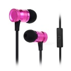 3.5mm In-Ear Wired Earphones w/ Mic,Wire Control - Black + Deep Pink