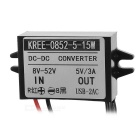 15W DC 12/24/36/48V to 5V Step Down Power Converter w/ 2 USB - Black