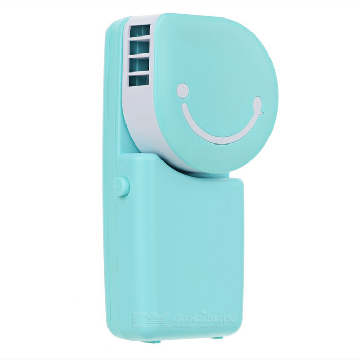 USB Mini Hand-held Air Condition Fan - Blue + White
