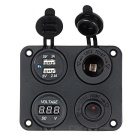 Dual USB Car Charger + Voltmeter + Switch Multi-Function Panel - Black