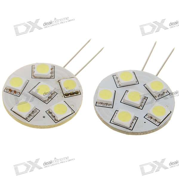 G4 0.9W White Light 6*SMD 5050 Decorative LED Module (DC12V / 2PCS)