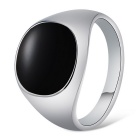 Xinguang Men's Simple Alloy Ring - Black + Silver (US Size 9)