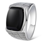Xinguang Men's Simple Alloy Ring - Silver + Black (US Size 10)