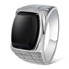 Xinguang Men's Simple Alloy Ring - Silver + Black (US Size 9)