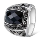 Xinguang Men's Fashion Jewel Imitation Cool Finger Ring - Black + Antique Silver (US Size 10)