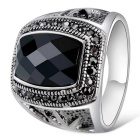 Xinguang Men's Fashion Jewel Imitation Cool Finger Ring - Black + Antique Silver (US Size 11)