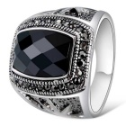 Xinguang Men's Fashion Jewel Imitation Cool Finger Ring - Black + Antique Silver (US Size 9)
