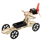 DIY Educational Assembled Wind Powered Car Vehicle Toy for Children / Kids - Wood Color + Red