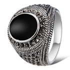 Xinguang Men's Fashion Imitation Gem Crystal Ring - Antique Silver + Black (US Size 11)