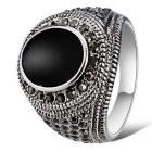 Xinguang Men's Fashion Imitation Gem Crystal Ring - Antique Silver + Black (US Size 10)
