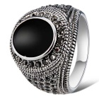 Xinguang Men's Fashion Imitation Gem Crystal Ring - Antique Silver + Black (US Size 9)