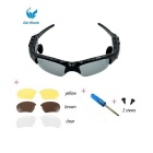 Oldshark Wireless Music Sunglasses w/ Stereo Handsfree Bluetooth 4.0 Headset Headphone + 3 Pair Lens