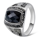 Xinguang Men's Fashion Crystal Finger Ring - White + Black (US 11)