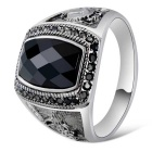 Xinguang Men's Fashion Crystal Finger Ring - White + Black