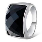 Xinguang Men's Square Alloy Finger Ring - Black + White (US Size 10)