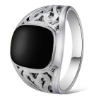Xinguang Men's Hollow Imitation Gem Ring - Black + Silver (US 12)