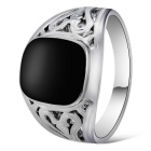 Xinguang Men's Hollow Imitation Gem Ring - Black + Silver (US Size 11)