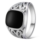 Xinguang Men's Hollow Imitation Gem Ring - Black + Silver (US Size 10)