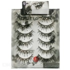 COOL FLOWER Cross False Eyelashes w/ Rhinestone - Black (6 Pair)