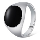Xinguang Men's Simple Alloy Finger Ring - Black + Silver (US Size 12)
