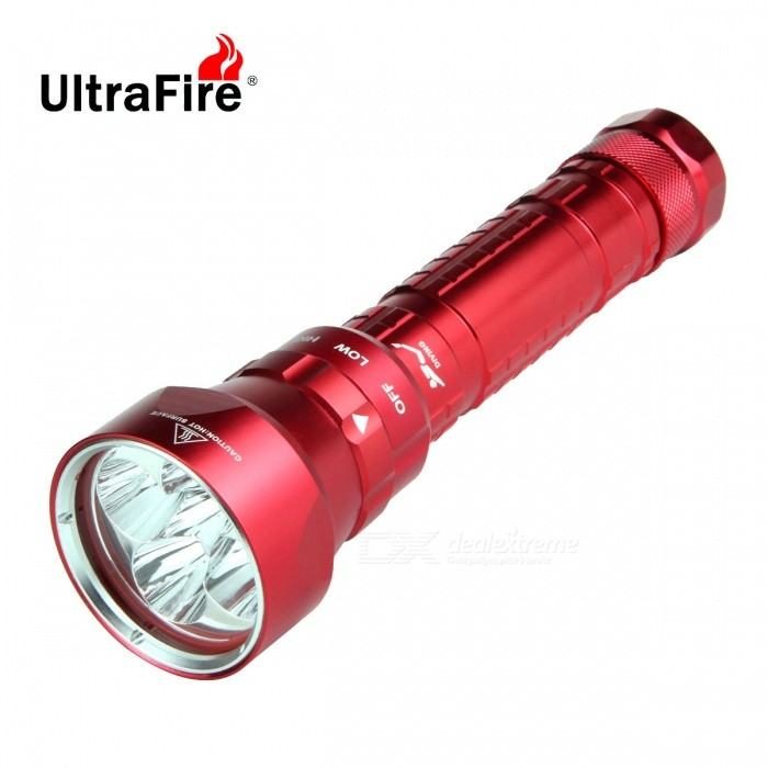 FandyFire 5-L2 XM-L2 U2 LED Water / Land Applicable Diving FlashlightDiving Flashlights<br>Form  ColorRedQuantity1 DX.PCM.Model.AttributeModel.UnitMaterialAluminum alloyEmitter BrandOthers,N/ALED TypeXM-L2Emitter BINU2Color BINCold WhiteNumber of Emitters5Theoretical Lumens4800 DX.PCM.Model.AttributeModel.UnitActual Lumens4800 DX.PCM.Model.AttributeModel.UnitPower Supply2 x 26650 / 2 x 18650 battery (included)Working Voltage   7.2-8.4 DX.PCM.Model.AttributeModel.UnitCurrent3000 DX.PCM.Model.AttributeModel.UnitRuntime3-5 DX.PCM.Model.AttributeModel.UnitNumber of Modes3Mode ArrangementHi,Low,Slow StrobeMode MemoryNoSwitch TypeTwistySwitch LocationOthers,Rotational switchLens MaterialGlassReflectorAluminum SmoothWorking Depth Underwater180 DX.PCM.Model.AttributeModel.UnitStrap/ClipStrap includedOther FeaturesFandyFire 18650 2200mAh Premium Energy Efficient High-Output, Long Run-Time, Lithium-ion Battery embedded with a Positive PCB (protected circuit board setting on positive). Positive PCB: For better preventing fire accident caused by Nickel belts short circuit that connected between the positive and negative electrode terminalsPacking List1 x Flashlight (with 2x18650 battery sleeve tube)2 x 18650 Batteries (2200mAh actual capacity)1 x 18650 Charger1 x Strap (about 52cm)2 x waterproof rubber rings1 x 18650 battery case<br>