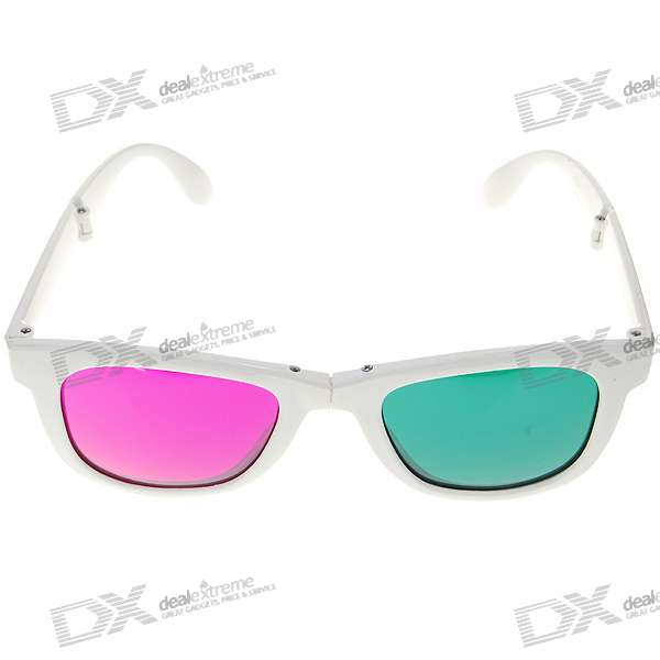 Re-useable Foldable Plastic Frame Resin Lens Anaglyphic Magenta + Green 3D Glasses