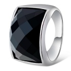 Xinguang Men's Square Alloy Finger Ring - Black + Silver (US Size 9)