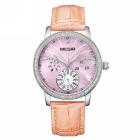 MEGIR Women's Fashion Waterproof Leather Band Quartz Watch - Silver + Purple