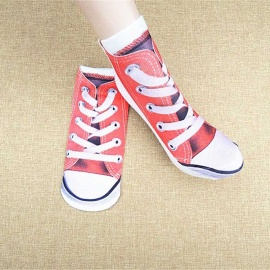 Creative Spoof Socks Pattern Cotton Socks - Red + White (Pair)