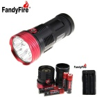 FandyFire XM-L T6 10-LED 3-Mode Cool White Flashlight - Black + Red